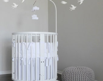 Stokke Mini Bedding with Italian trim // Pure white // choose your trim 32 colors // Ready To Ship 2-3 weeks