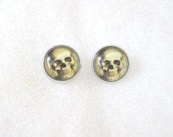 Gothic Skull 12mm Stud Earrings