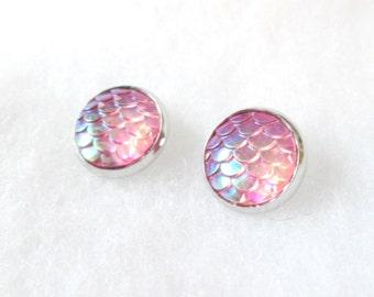 Pink Iridescent Mermaid Scale Earrings