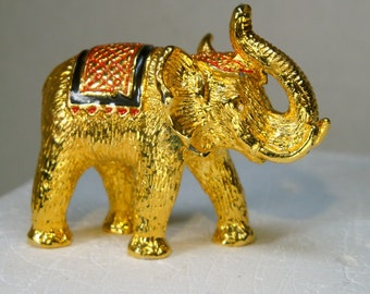 Elephant Tiny Statue, 1980s Heavy Golden Metal Figurine, Office Desk Accessory, Trunk Up For Good Luck, Pachyderm, Enamel Blanket