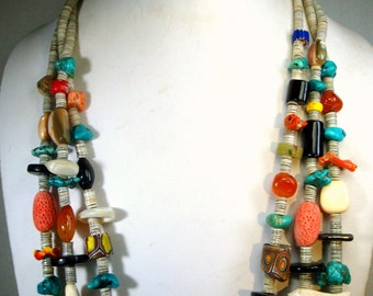 Vintage Native American Style 3 Strand LONG White Clam Heishe Necklace, LOADED w Stones, CORAL, Trade Beads, Turquoise, Shell, Ooak  1980s