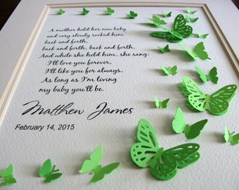 Love You Forever, My Baby Always. Personalized 3D Butterfly Art. Baby Shower, Nursery Art, Infant Loss, Memorial. 8x10. Made to Order