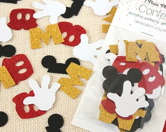 Mickey Mouse Glitter Confetti - 50 pieces - Disney Theme, Table confetti, Party Decorations