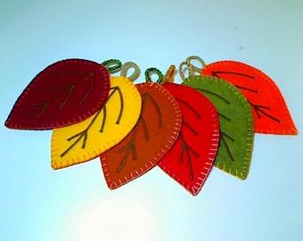 Leaf Felt Coasters/ Mug Rugs | Home Decor | Kitchen Decor | Earth Tone Leaves | Autumn/Fall Decor | Thanksgiving | Set of 6 | #1