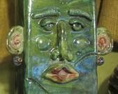 Large Raku Face Vase