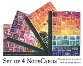 4 Postage Stamp Notecards - Collage Art Print Note Card Set - blank inside, any-occasion A6 greeting cards - snail mail set, mail art cards