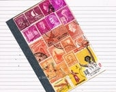 Pocket Travel Journal 34 - Lined A6 Traveler's Notebook, Upcycled Postage Stamp Art Collage, Boho Hippie Orange Pink Sunset, snail mail gift