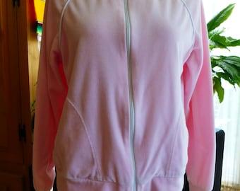 1970s Pink Velour Jogging Track Jacket M/L