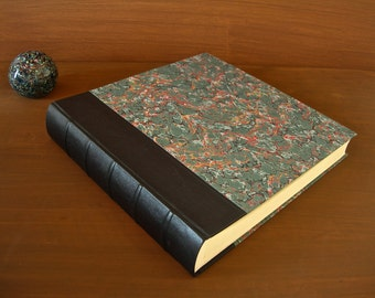 Leather spine photo album - green with French marbled paper - 12x12in.30x30cm.-Ready to ship