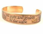 Jabberwocky Poem Skinny Brass Cuff Bracelet - Literary Quote Twas Brillig - Alice in Wonderland Jewelry