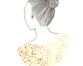 Gold and Yellow Portrait Print of Original Drawing