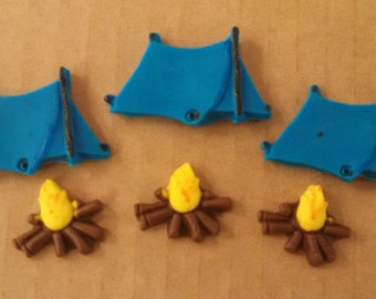 Fondant Tents and Campfires-Cake/Cupcake Toppers-6 Tents and 6 Campfires