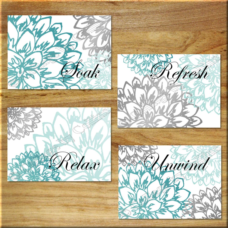Turquoise Teal Gray Aqua Wall Art Bathroom Bath Print Decor