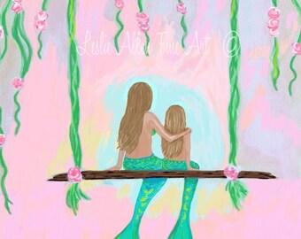 """Mermaid Art Mermaid Painting Mermaid Wall Mermaid Decor Mermaid Theme Mermaid Art Print """"Lovely Afternoon Together"""" Leslie Allen Fine Art"""