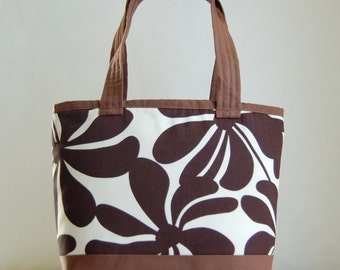 Twirly Brown Fabric Tote Bag - READY TO SHIP