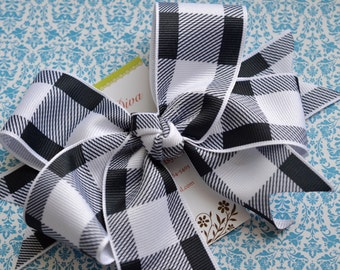 Picnic Plaid In Black XL Diva Bow