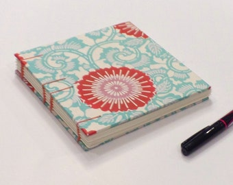 Turquoise with Red Mum Japanese Batik Blank Sketchbook