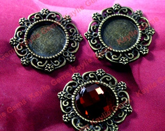 Round 25mm Inner 14mm Cameo Cabochon Setting Frame Antique Brass Filigree Victorian -FRM-12195AB - 8 pcs