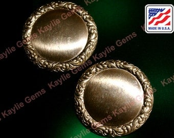 4pcs Round Circle Stamping Baroque Victorian Floral Edge Raw Brass Finding USA SS285