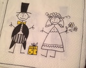On sale!  Pack of 20 FUN 3 ply plush luncheon napkins for your wedding reception. Stick figures!