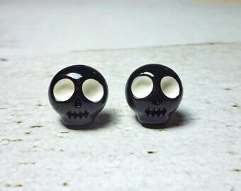 Black Skull Stud Earrings