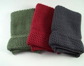 Dishcloths Knit in Cotton in Fern, Apple Red and CoolGrey/Dogwood, Washcloths Knit in Cotton, Dish Cloth, Wash Cloth