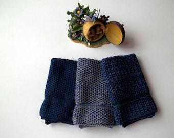 Dishcloths Knit in Cotton in Blue, Knit Washcloths, Wash cloth, Dish cloth