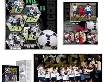 SOCCER Sports Template Set 2 - (5) Digital Photoshop Templates for Sports Photographers & Scrap Booking.