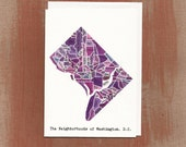 The Neighborhoods of Washington D.C. in Purples: Boxed Notes / Tote Bag / Notebook / Art Print