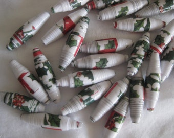 Christmas theme/color paper beads, hand rolled, for jewelry making, garlands, other art media, 25 beads