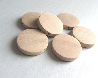 Natural Wood Beads Flat Round 20 or 25mm - 6 pces  (PB232D)