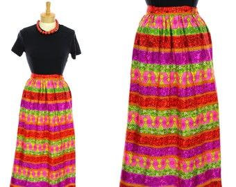 70s Wrap Skirt Psychedelic Hippie Boho Bohemian 1970s Retro Festival Vintage Small S Medium M One Size