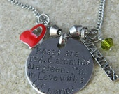 Roses are Red. Cammies are Green. I'm in Love with a US Marine Necklace