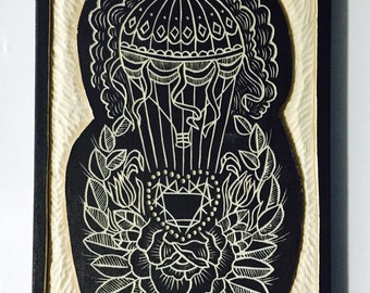 Hand Carved Traditional Tattoo Style Hot Air  Balloon Wall Art / Woodcut