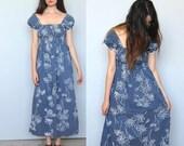 sale --tropical babe -- beautiful vintage 70s floral maxi dress S