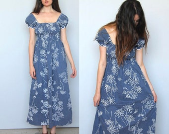 sale --tropical babe -- beautiful vintage 70s floral maxi dress S