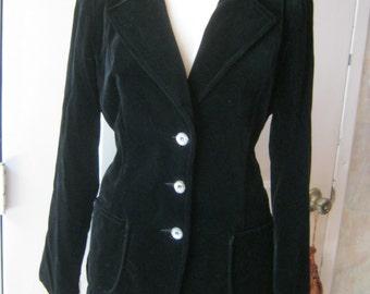 Vintage 70s black cotton velveteen classic blazer, black velveteen Koret size 10 blazer jacket, Union label black classic blazer