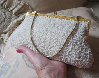Vintage white glass beaded evening bag, white glass seed beads handbag, bride's heavy white glass beaded formal bag, dressy white bead bag