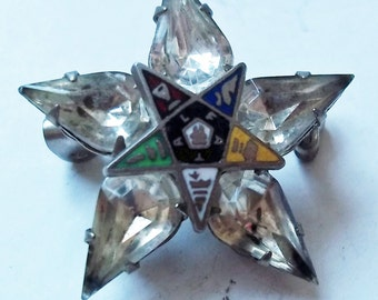 Vintage Order of the Eastern Star Rhinestone and Enamel Brooch - Small Star Pin w/ Clear Rhinestones - Freemasons - Masonic Women