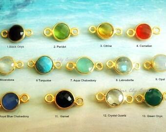Gemstone Bezel Connector Links, 14x7mm Gemstone Links, 24k Vermeil Birthstone Charms Pendants,7mm stone