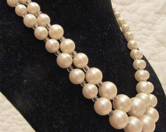 Vintage Pearl two strand necklace faux pearls SALE