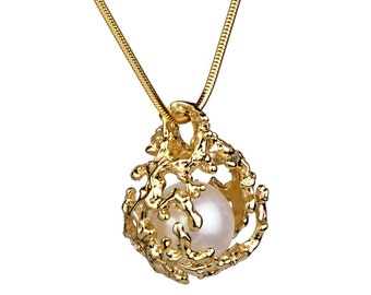 CORAL NEST 14K Gold Pearl Pendant Necklace, Gold Pearl Necklace Wedding, Bridal Jewelry Pearl, Bridal Pearl Necklace