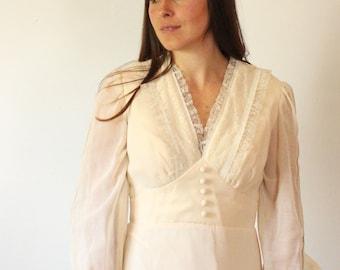 vintage 1970s Dress  // cream maxi dress