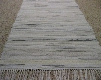 Handwoven White w/ Color Splashes Rag Rug 25 x 54 (made from socks)