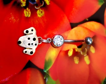 Dalmatian Dog, Navel Ring, Barbell Jewelry, 14 gauge, sterling silver, whimsical pet
