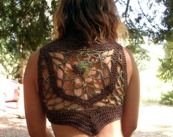 Pixie Corset Mandala Vest in Hemp Wool Brown and Green Earth Tones Forest inspired Ready to Ship