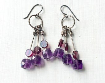 Sterling Silver Wire Wrapped Amethyst and Garnet Dangle Earrings - Purple and Red