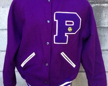 Purple Letterman Jacket Coat Vintage 1980s Wool Men's size 40