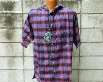 Shah Safari Shirt Vintage 1990s Deadstock Hooded Drug Rug Pullover Flannel Plaid Hood Men's size L