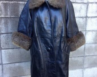 Leather Jacket Coat Vintage 1960s Black Long Fur Collar
